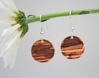 Copper disk earrings, copper and sterling, handmade earrings, woman, dangle, eco friendly, bridal gift, bridesmaid gift