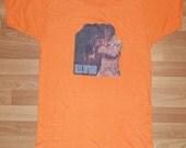 Vintage 1970's Elvis Presley Rock Soft Thin Orange Retro T-Shirt Iron On 70's