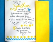 You Are My Sunshine - Valentines Day Card - I Love You Card - Hand Lettered Card