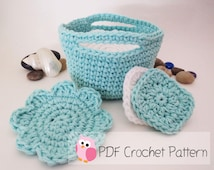 Facial Scrubbers and Makeup removers in a basket: Crochet Pattern Digital Download