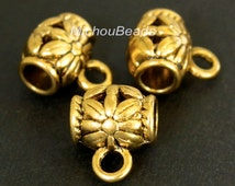 5 ANTIQUED Gold Charm HOLDER Bail - 9x11mm Tube w/ Flower and Loop - Large 3.5mm Hole Tibetan Style Holder - Instant Ship from USA - 5461