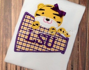 LSU Tiger with Megaphone - Appliqued and Personalized
