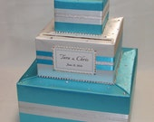 Elegant Custom made Wedding Card Box-Turquoise/White -any color can be made