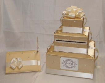 Elegant Custom Wedding Card Box/Matching Guest Book and Pen  -any colors
