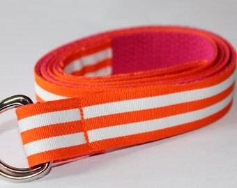 Girls Ribbon Belt Pink and Orange Belt Velcro Belt Girls Striped Belt Pink Girls Belt Orange Stripe Belt Preppy Belt