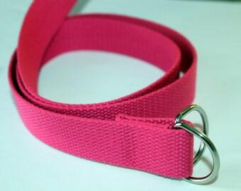 Girls Belt Hot Pink D Ring Hot Pink Canvas belt Teen Girl Pink Belt Bright Pink Webbing Belt Hot Pink D Ring Belt Children's Pink Belt