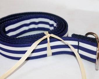 Kids Navy and White Belt Navy and White Striped Ribbon Preppy Boys Girls Toddler