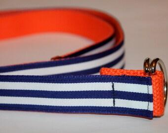 "Ladies Reversible Ribbon Belt Navy Stripes and Orange 1"" Wide Navy Stripe Belt D Ring Belt Tween Gift Nautical Style Orange Webbing Belt"
