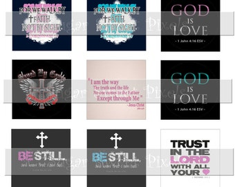INSTANT DOWNLOAD Christian 2 Bible verse scripture Images  1 inch Squares 4x6 image Sheet