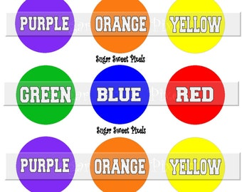 INSTANT DOWNLOAD Basic Colors  1inch Circle Bottlecap Images 4x6 sheet great for game pieces or learning tool