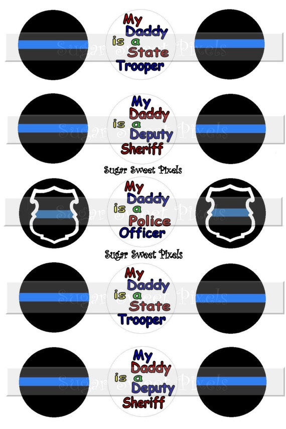 INSTANT DOWNLOAD Thin Blue Line Police Inspired 1 inch Circle Bottlecap Images 4x6 sheet