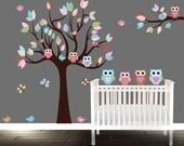 Baby Girl Owl Wall Decal Owl Nursery Tree Birds Butterflies Owls Nursery Tree decal teal pink