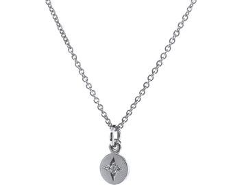 White Gold Small 'Eclipse' Pendant, white gold circle necklace, white gold disc pendant