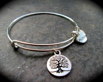 Tree of Life adjustable wire bangle bracelet with Mother and Heart Charms choice of charm Friends Mom Mother Aunt Sister Grandma great gift