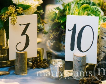 Table Number Signs - Perfect for Wedding Reception - Table Cards Calligraphy Style, Elegant Simple Chalkboard Table Numbers (Set of 10) SS02