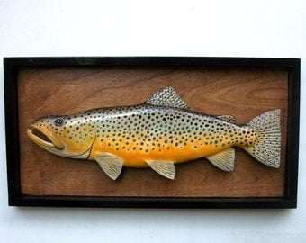 Brown trout 3-D Art sculpture hand made wood carving, in glassless shadow box type frame. original art, fishing gift Christmas gift