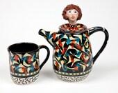 "Handmade Teapot with matching Tea Mug, ""Jennifer"" Tea Set in Ceramic Pottery"
