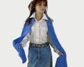 Long Knitted Scarf, Medium Blue, Acrylic Yarn,  Neckwarmer
