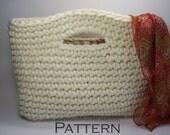 """Chunky Basket Handbag Tote Easy Crochet PATTERN Tutorial 14"""" x 10""""/(36 x 25) cm - PDF 1410"""