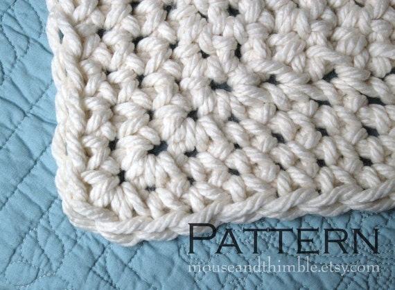 Queen Size Chunky Afghan Blanket Easy Crochet PATTERN 85 x 66 (21...