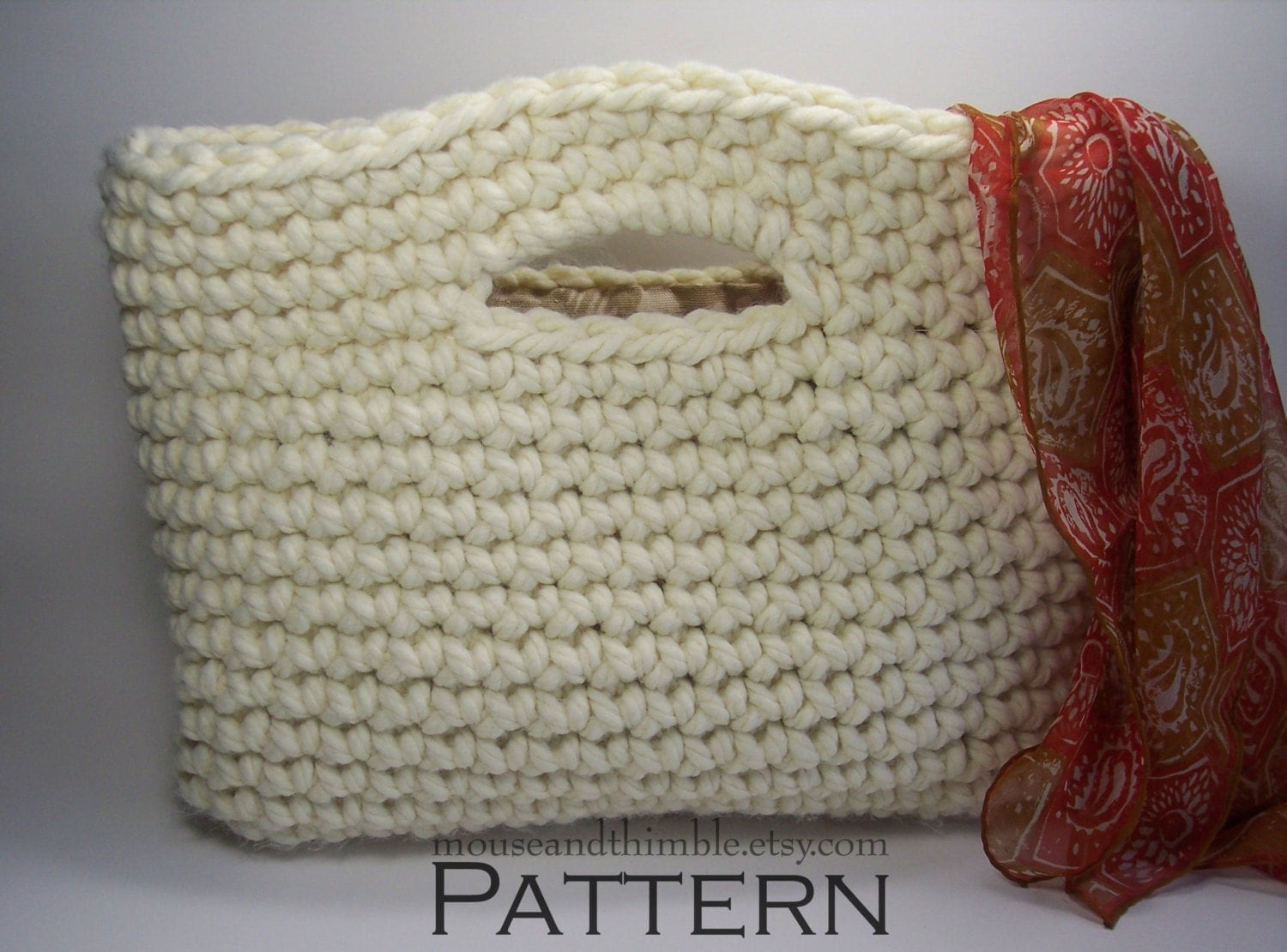 Chunky Basket Handbag Tote Easy Crochet PATTERN by MouseAndThimble