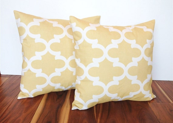 Pale Yellow Throw Pillow Cover : Items similar to Two Decorative Throw Pillow Covers. 18 X 18 Inch Pale Yellow Moroccan Couch ...