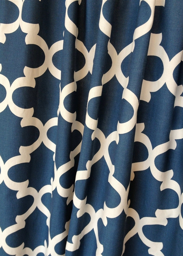 Blue Moroccan Tiles Valance Curtains 50x16 Inches Navy Blue