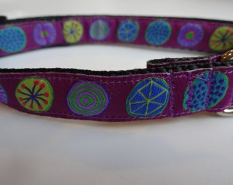 "5/8"" Width Dog Collar - Circles on Purple"