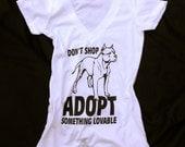 DON'T SHOP ADOPT! Women's Deep V T-shirt