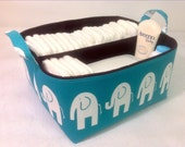 "XLA Diaper Caddy 13""x11""x7"" with 2 Sections, Fabric Storage Bin Basket, Organizer in Turquoise Chevron with Brown Lining"
