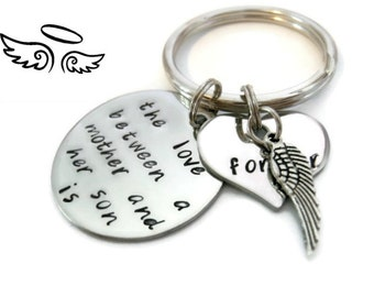 "SYMPATHY Mother and SON Keychain ""The love between..."" hand stamped quote keychain by Moonstone Creations"