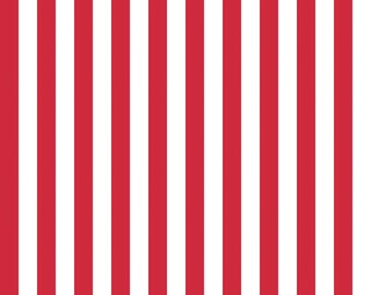 Red and White Small Striped Cotton Fabric by Riley Blake Designs - 1/2 Yard