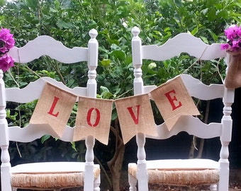 CLEARANCE SALE, Love Burlap Banner Bunting - wedding garland - photo prop