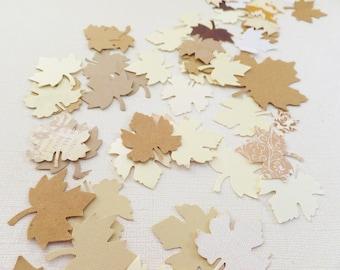 "Fall Leaf Confetti ~ 200 ~ 1"" ~ Neutral Colors ~ Fall Wedding Table Decor"