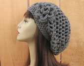Gray Slouchy Hat with flower Crochet Beanie Gray Slouch Cap Gray Slouchy Knit Beret Medium Gray Hat Crochet Slouchy Hat Gray slouch beanie
