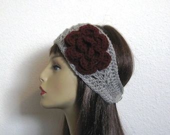Grey Headband with Flower Silver Earwarmer With Flower Silver Grey Headband Light Gray knit hairband Crochet Headwrap Gray Hair wrap