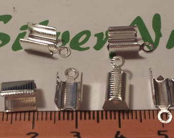 100 pcs per pack of 12.5x6mm Base Metal Silver Fold Over Clutch Crimp Bead Cord Tip Fastener End Cord.