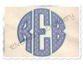 Circle Monogram Applique (Satin w/Bean Stitch) Machine Embroidery Font Alphabet - 4 Sizes