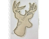 Raggy Applique Deer Head Buck Silhouette Machine Embroidery Design - 5 Sizes