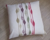 "Square Cushion Cover LINEN with Olive, Purple, Fushia WAVY LINES, Cushion cover / Pillow Sham 50cm or 20"" square Accent cover  or sham"