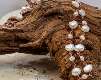 Freshwater Pearl Necklace Wrapped with Copper
