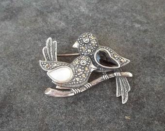 Vintage Marcasite Lovebird Brooch, Pin, Jewelry, Silver