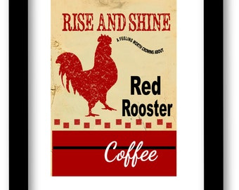 Red Rooster Coffee Art Print, Vintage Red Rooster, Farmhouse Decor, Cottage Chic