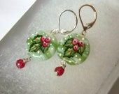 Holly Earrings, Holly and Berries,Christmas, Hand-Painted Glass. Green and Reds, Dangle Earrings