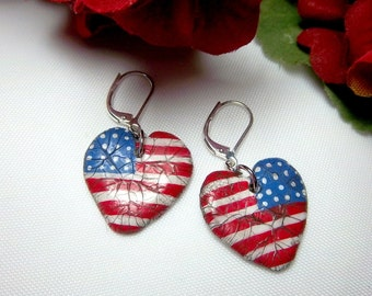 Patriotic Earrings, Flag, Polymer Clay Hearts, Stars and Stripes, Red White and Blue, Patriotic, Dangle Earrings