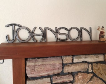 Personalized Wedding gift sign, country western decor, real name on horseshoe sign, blacksmith creations