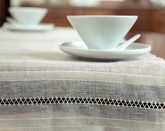 Pure Linen Sheer Table Runner With 2-rows Handstitching at Ends