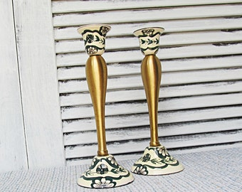 Danish Vintage Brass and Ceramic CandleStick Holders Candle Stick Holders
