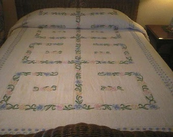 Sale - White and BLUE with Colorful Needletuft FLOWERS, Scrolls and POPS Vintage Chenille Bedspread - Free Shipping