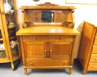 Antique Curved Glass Bow Front Oak China Hutch By